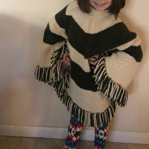 Vintage knitted poncho cape capelet shrug ONE SIZE